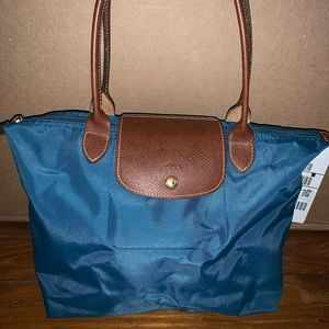 Peacock LongChamp- small with short handles